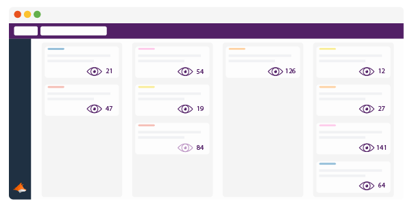 Trello Board with the View Tracker symbols within each card