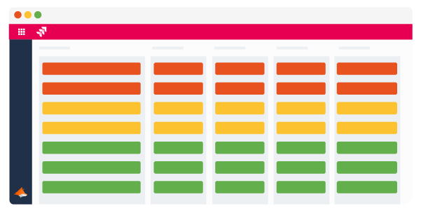 Jira screen with rows that are highlighted red, yellow and green