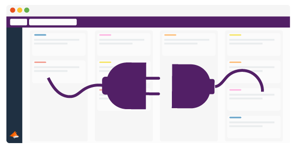 A Trello board with two plugs in front that are about to connect