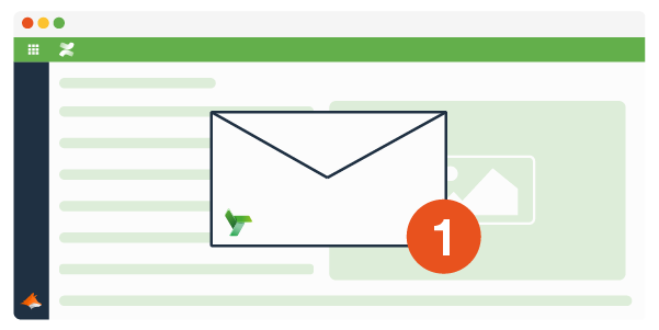 A Confluence page with an email notification icon infront