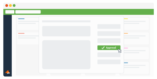 A Trello Card with a mouse clicking the Approval button