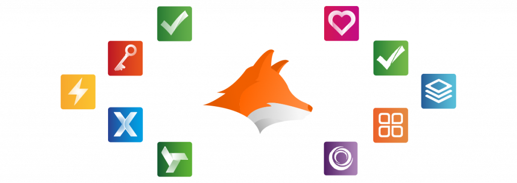 AppFox Logo with all product apps surrounding it