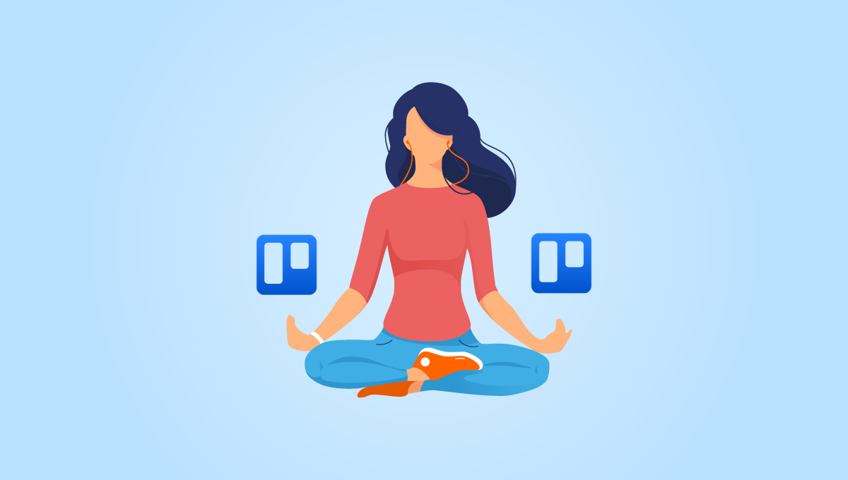 Lady sitting down relaxed with the Trello logos either side